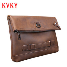 2016 KVKY Brand Flod Over Day Clutches Man Business Shoulder Bag Messenger Bags High Quality PU Leather Envelope Clutch Bags