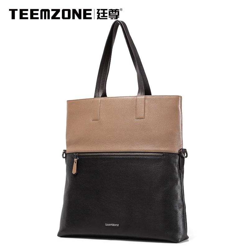 2017 Teemzone Brand Handbag Men Shoulder Bags Leather Genuine Business Casual Messenger Bag Men's Cowhide Briefcase Tote Bag