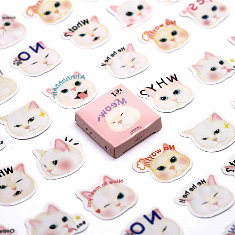 1pcs לבן חתול חמוד קריקטורה מדבקות פעולה איור פעולה & צעצוע דמויות מתנות צעצועי ילד ילדה ילדים