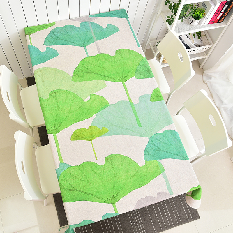Hello green leaf linen table cloth Fashion living room restaurant table cloth rural Small fresh table cloth
