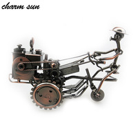 23 7 15cm Wrought Iron Tractor Model Antique Metal Handicraft Tractor Toy Creative Home Decoration