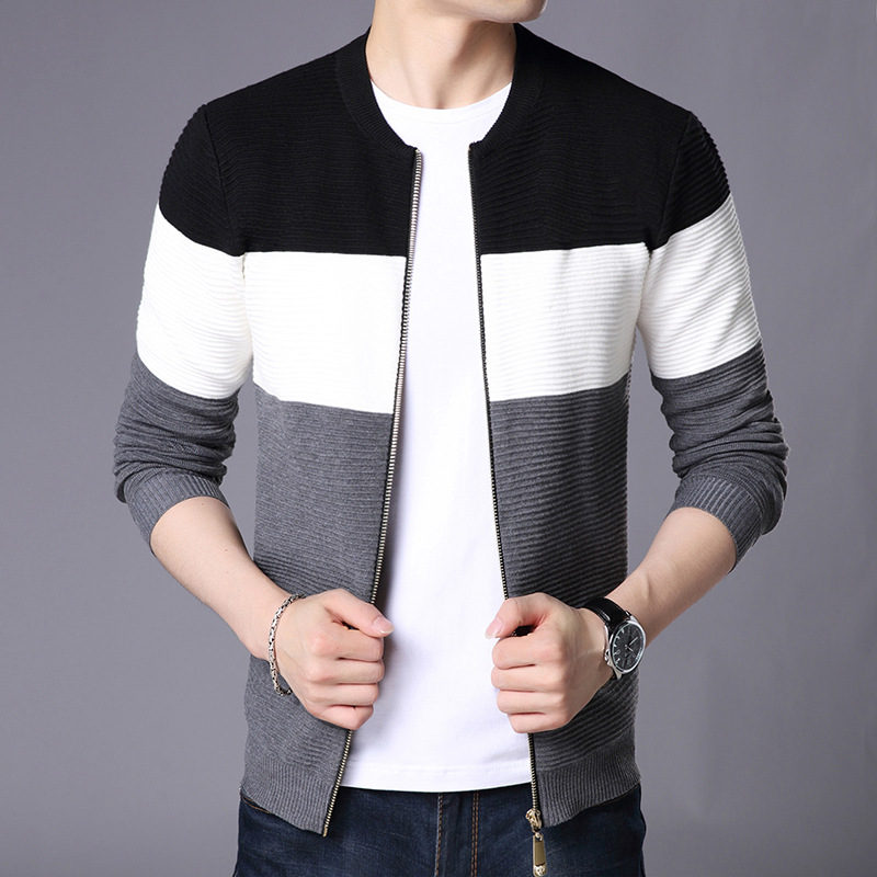 Autumn Winter Knitted Cardigan Men Casual Wear Fashion Black White Grey Patch Work Sweater Zipper Cardigan Male