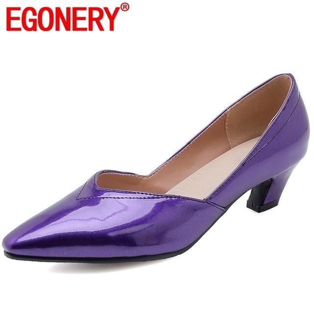 EGONERY Misterioso retro viola della donna Pompe primavera estate Vestito della ragazza di modo Punta a punta 4 centimetri tacchi med scarpe più formato 32-46
