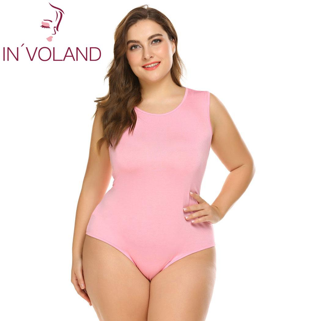 IN'VOLAND Women Sexy Bodysuits Plus Size XL-5XL Slim Skinny Jumpsuits Sleeveless Solid Romper Larger Overalls Playsuits Big Size