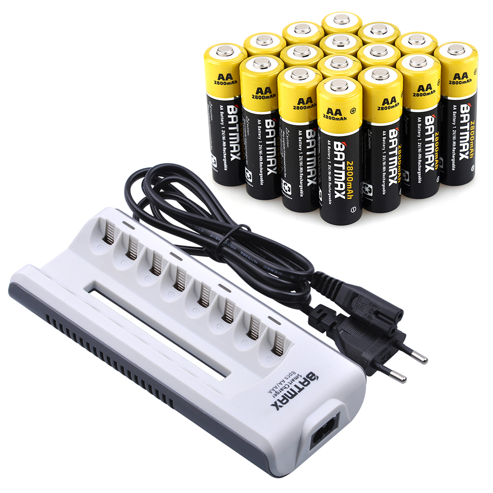 20 Pcs AA Batterie Rechargeable AA NiMH 1.2 V 2800 mAh Ni-MH 2A Pré-chargé Bateria + 8 Slots AA/AAABattery Chargeur Kits pour Caméra