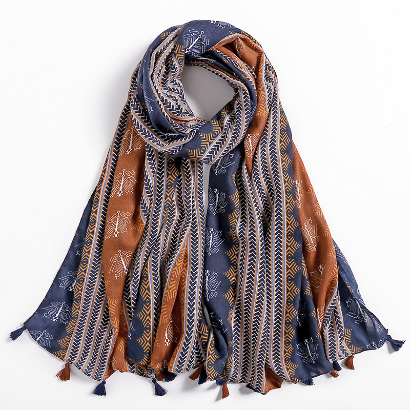 2019 Autumn Winter Scarves For Women Shawls And Wraps Fashion Aztec Female Hijab Stole Pashmina Winter Cotton Foulards Muslim