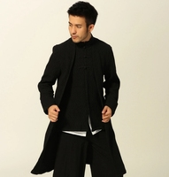 Autumn Hanfu Male Chinese costume cotton double long sleeved Hanfu folk style slim autumn men's clothes only tops