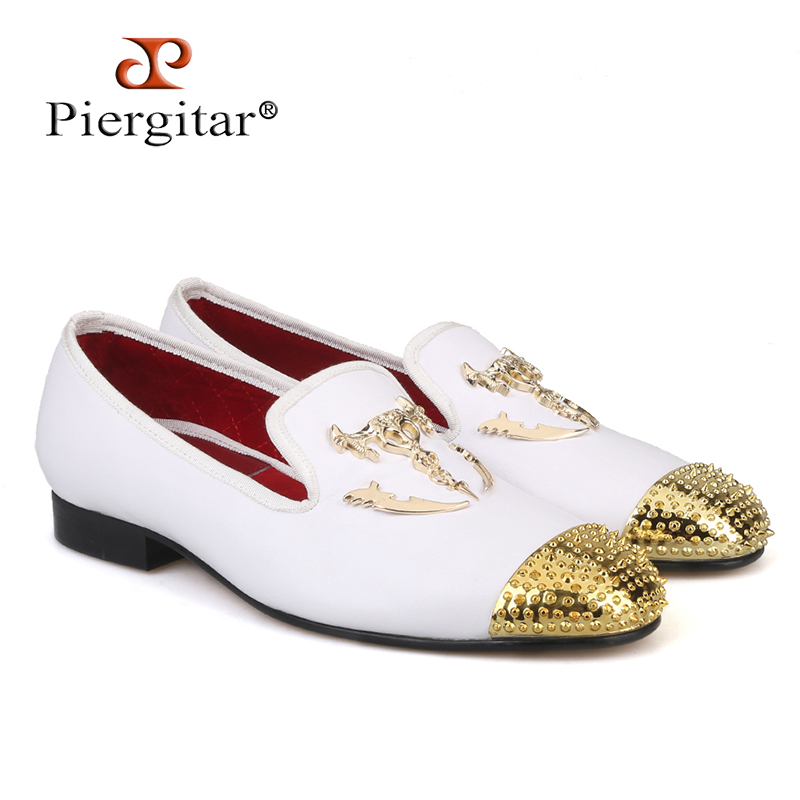 Piergitar 2018 New white colors men leather shoes with Gold toe and metal party and wedding