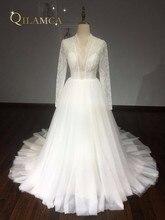Contoh Nyata Ball Gown Puffy Wedding Dress 2018 Lace Panjang Sleeves Mutiara Wedding Gowns Robe De Mariage