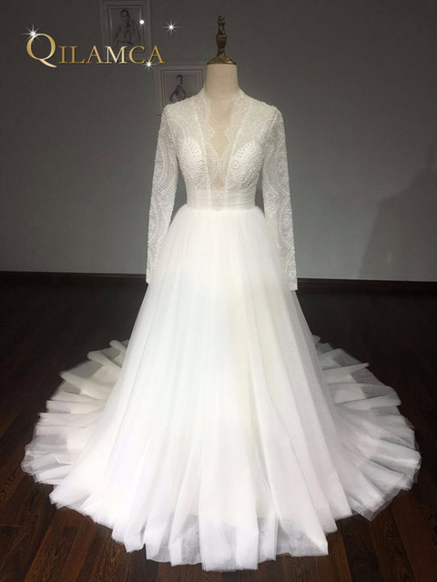 Real Samples Ball Gown Puffy Wedding Dress 2018 Lace Long Sleeves Pearls Gowns Robe De
