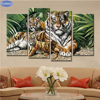 4PCS Tiger Tiger Baby Diy Diamond Embroidery Picture Of Rhinestones Triptych Almaznaya Mosaic Cross Stitch Diamond