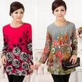 XL, XXL, 3XL, 4XL, 5XL! 2016 Inverno Nova camisa Casual para As Mulheres Artigo Camisas Blusas Femininas Cotton Big Plus Size Mulher Blusa Top Túnica
