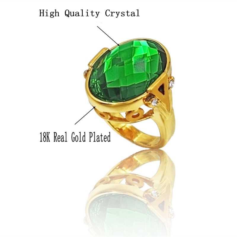 Cor de ouro de Cristal Austríaco Anel de Dedo Completo, Trendy Antique Anéis De Casamento Para Homens E Mulheres Tamanho Grande de Jóias Por Atacado