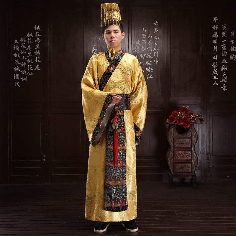 Gold Chinese ancient costumes Male costume robes Qin dynasty Emperor costumes hanfu tang suit oriental costumes