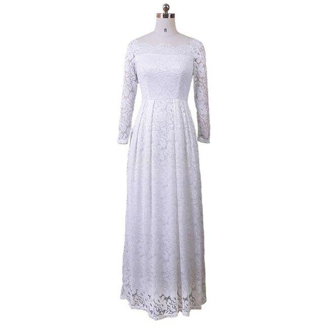 Летнее платье Для женщин 2018 г. пикантные с плеча Slash шеи белое кружевное платье элегантные Макси Вечеринка платья женский Vestidos