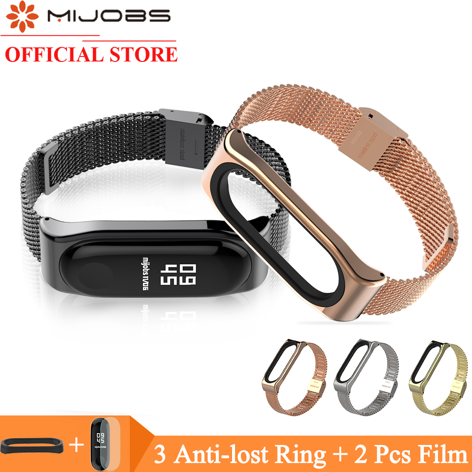Mijobs Metal Bracelet for Xiaomi Band 3 Wrist Strap Miband 3 Wristband Smart Watch Band Mi Band3 Stainless Steel Strap for Mi3 кпб tj 11