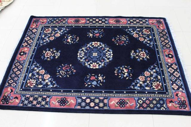 Pure Wool Tibetan Carpets Handmade Scissors Flower Chinese Style Technology Blanket Tapestry Coffee Table Carpet