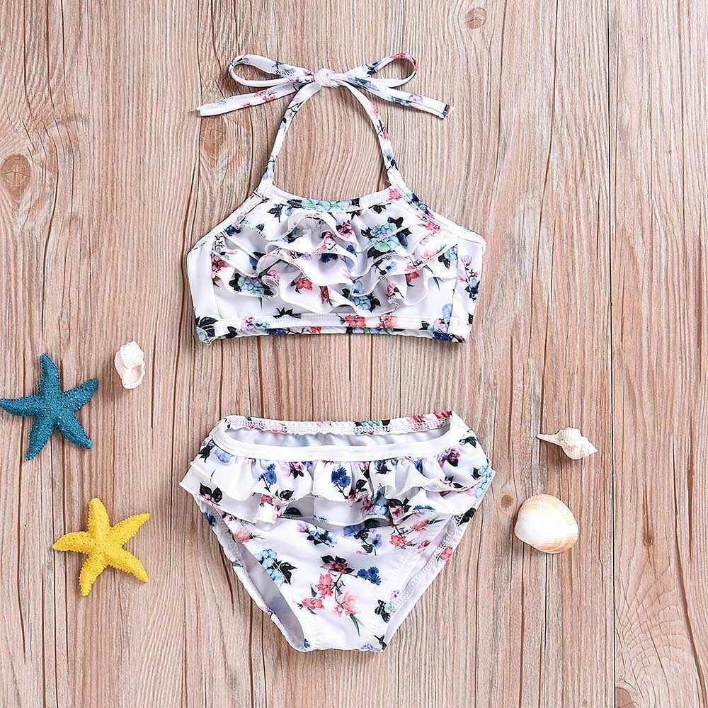 7068303d60ad ... Two Piece Swimwear Girls Baby Toddler Ruffles Layered Bandgae Bikini  Outfits Set Swimsuit Girls Children Bathing ...