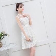 White Color Elegant Mini Dress  Bridemaid Women Wedding Party Back of Zipper