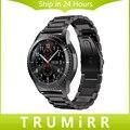22mm de acero inoxidable venda de reloj de la correa de liberación rápida para samsung gear s3 classic frontera correa de muñeca brazalete de eslabones de plata negro