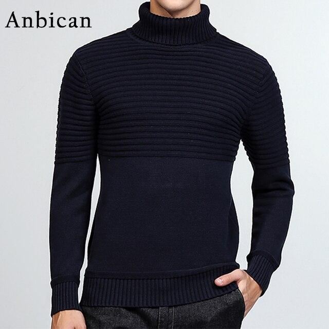 1850613d5de8 Anbican Mode Schwarzen Rollkragenpullover Männer 2017 Herbst Winter Marke  Design Beiläufige Gestrickte Pullover Männlich Schlank Pullover