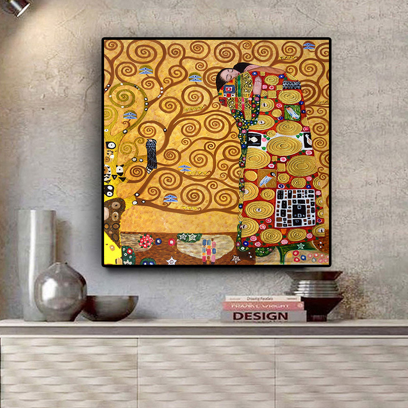 Gustav Klimt The Fulfillment Reproduction Oil Painting On Canvas Posters And Prints Scandinavian Wall Picture For Living Room