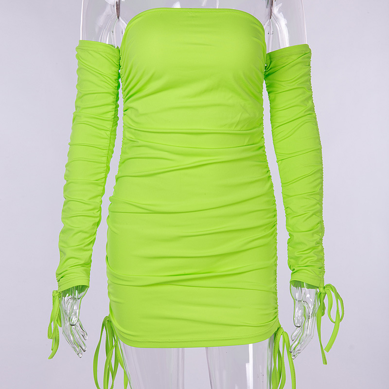 BOOFEENAA Neon Green Ruched Off Shoulder Long Sleeve Bodycon Dress Sexy Dresses Party Night Club Dresses Spring 2019 C77-AA38