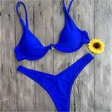 купить 2019 Stylish Pure color Bikini Set Quick Dry Breathable Women Sexy Tankinis Swimwear Push Up Swimsuit дешево