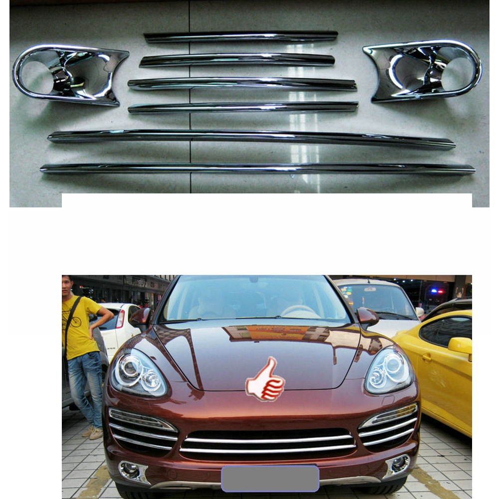 Fit For 2011-2014 Porsche Cayenne Front Grill Net Decorated Sticker Cover Fog Light Bar Trim 6 Pieces/ 8 Pieces 1 Set