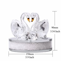 3 Colors Couple Glass Crystal Swan with Clear Diamond Home Decoration Wedding Gift Valentine's Day Gift