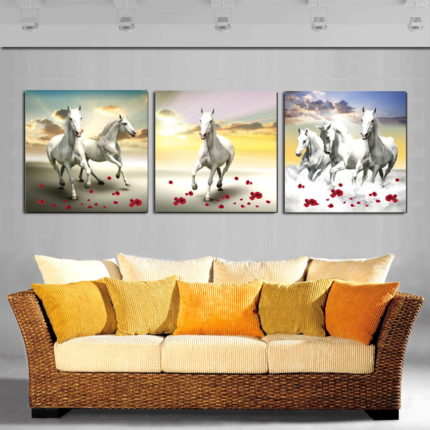 Modern Large Running Horse Paintings Paint On Canvas Prints White ...
