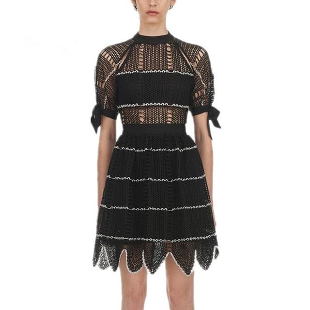 2019 Summer Self Portrait Dress Women Sexy Elegant Short Sleeve Hollow Out Waves Lace Short Dress Vestidos