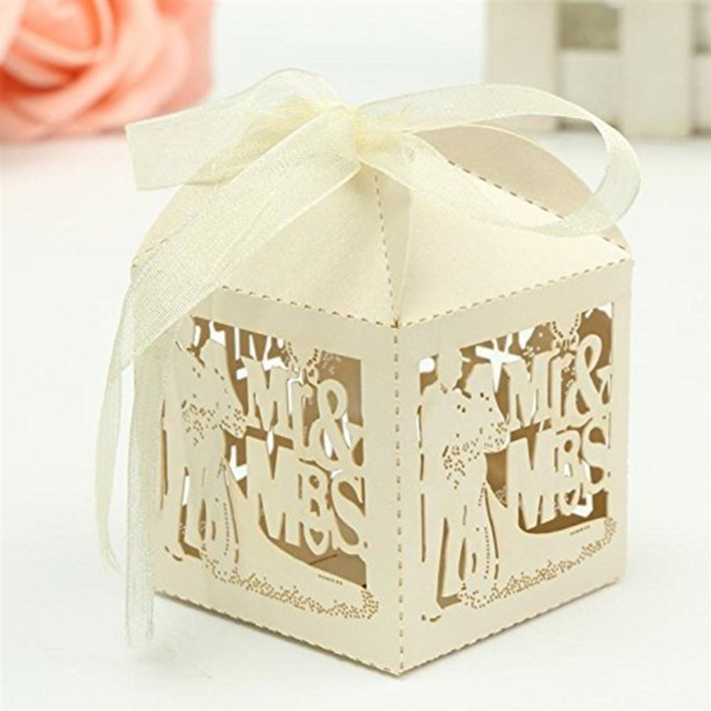 KAZIPA 50pcs Laser Cut Lover Groom and Bride Mr&Mrs Gift Candy Cake ...