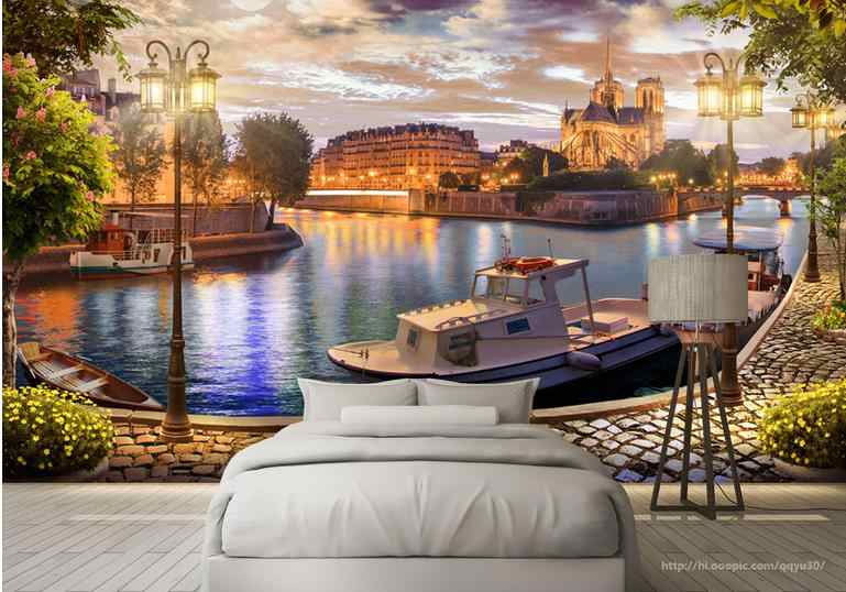 Europe 3d Wallpaper Murals walls Living Room TV Backdrop Wall Decor Bedroom Bay Harbor Landscape Non-woven Mural Wallpaper