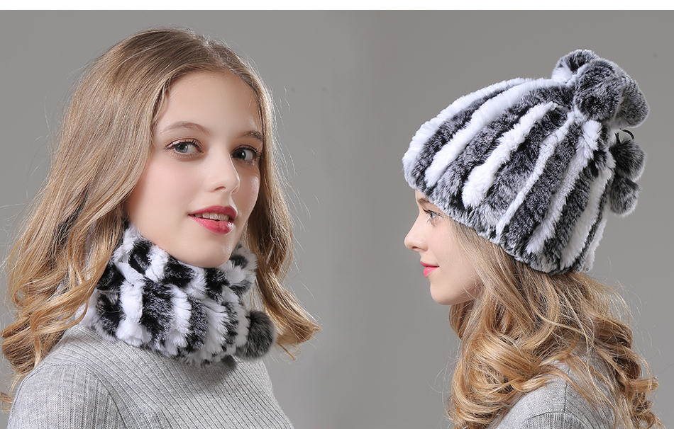 Womens Winter Hats Scarf Knitted Real Rabbit Fur Hat Natural fur Neck Scarf Girls Winter Warm Hat Beanies (2)
