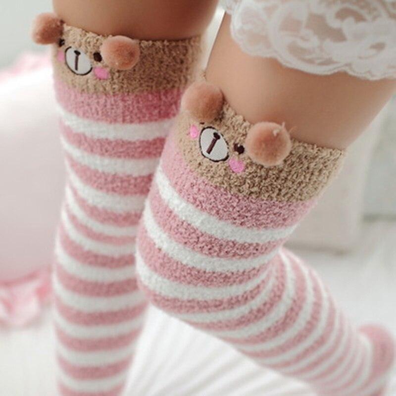 2020 Kawaii Japanese Animal Printed Knee Socks Striped Cute Lovely Long Thigh High Socks Compression Winter Warm Medias Sock