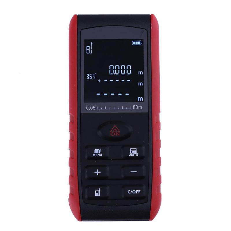 80M/262ft Laser Range Finder Digital Distance Meter Tape Area/volume/Angle Measure Laser Rangefinder Construction Tools