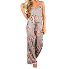 196eb950433 Kawaii Floral Women Jumpsuit Fashion Spaghetti Strap Long Playsuits Casual  Beach Wide Leg Pants Jumpsuits Overalls