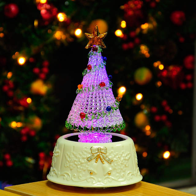 placeholder Drawing glass ceramic base Christmas tree lights rotating music  box - Online Shop Drawing Glass Ceramic Base Christmas Tree Lights