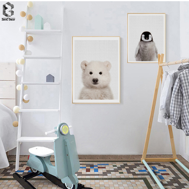 Polar Bear Canvas Painting Nursery Wall Art Penguin Poster And Print Nordic Animal Picture For Kids