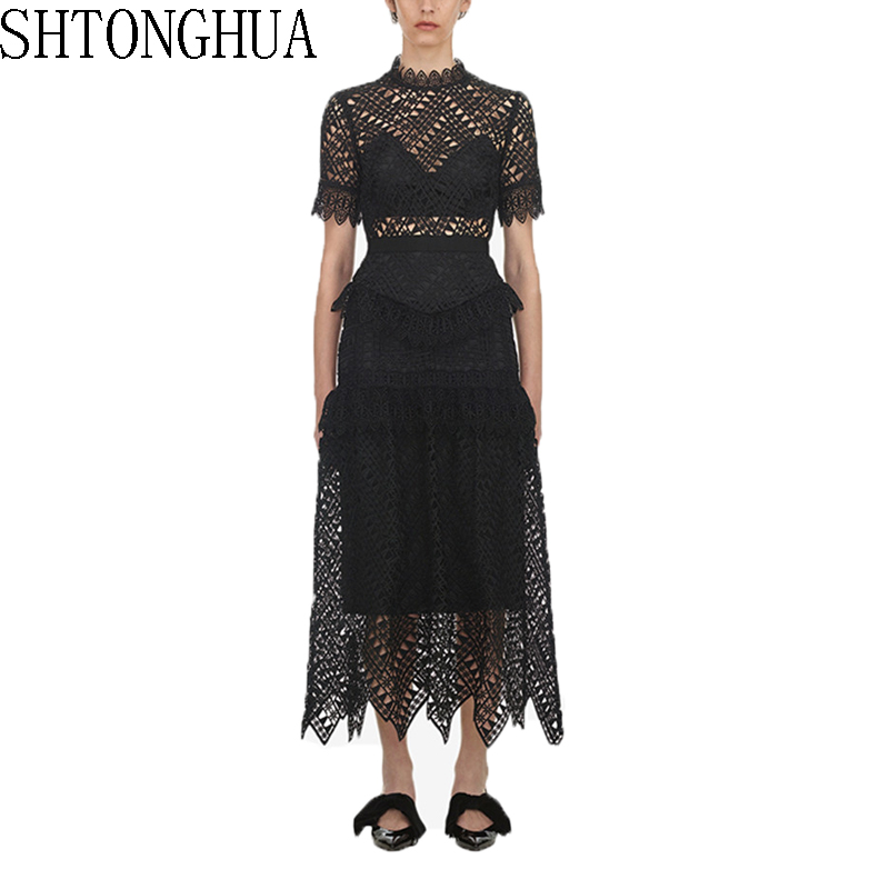 SHTONGHUA Self Portrait Long Lace Women Dress Runway Spring Summer Ruffles Short Sleeve Patchwork Dress Vintage