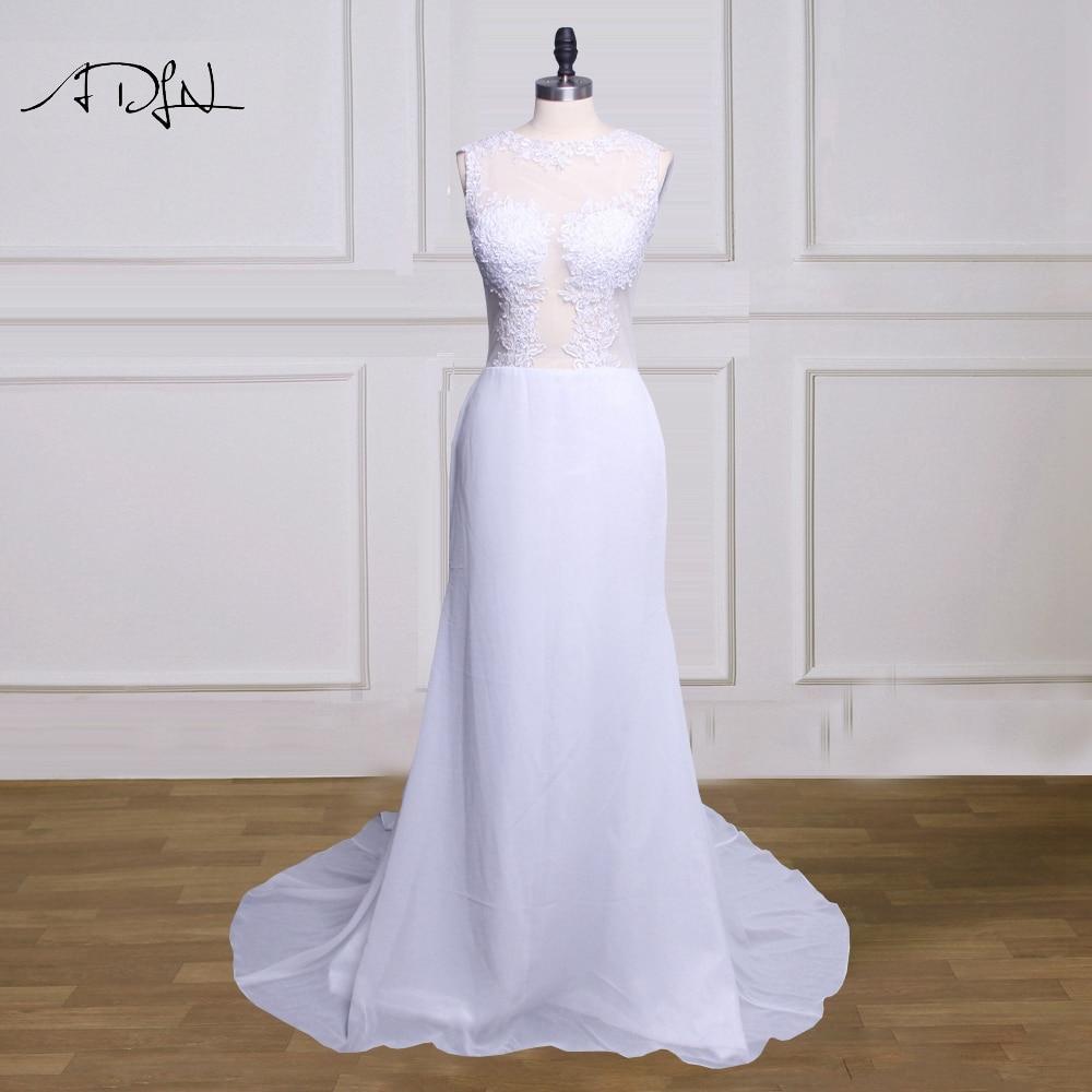 ADLN Romantic Illusion Bodice Mermaid Wedding Dresses O neck Sleeveless Chiffon Wedding Reception Dress Lace Bridal Gown