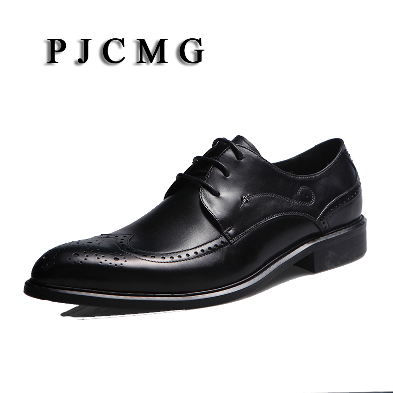 PJCMG New Fashion Black/Red Mens Flats Oxfords Lace-Up Pointed Toe Genuine Leather Carved Business Dress Wedding Party Shoes pu pointed toe flats with eyelet strap