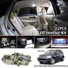 22X Bianco Canbus led Per Auto luci interne Cornici e articoli da esposizione Kit per Mercedes Benz W164 M Classe 2006-2011 led interni cupola Tronco luci