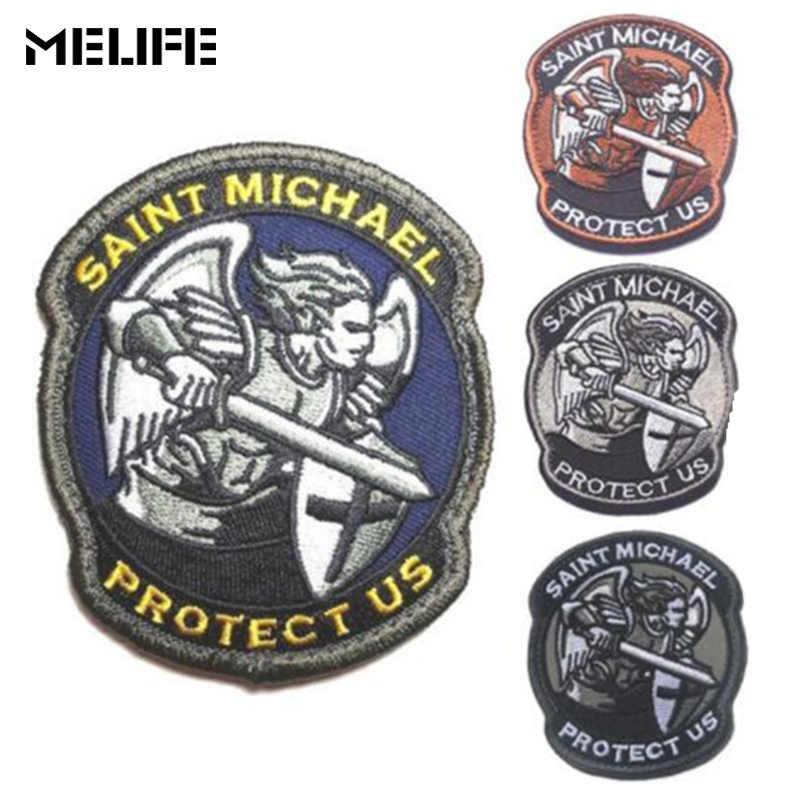 Cheerleaderek pamiątki święty michał chroń nas łatki wojskowa odznaka bojowa 3D wyszywana aplikacja armia opaska na ramię ubrania