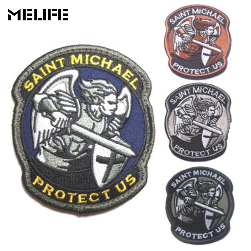 Cheerleading Souvenirs Saint Michael Protect Us Patches Military Combat Badge 3D Embroidered Applique Army Armband Patch Clothes