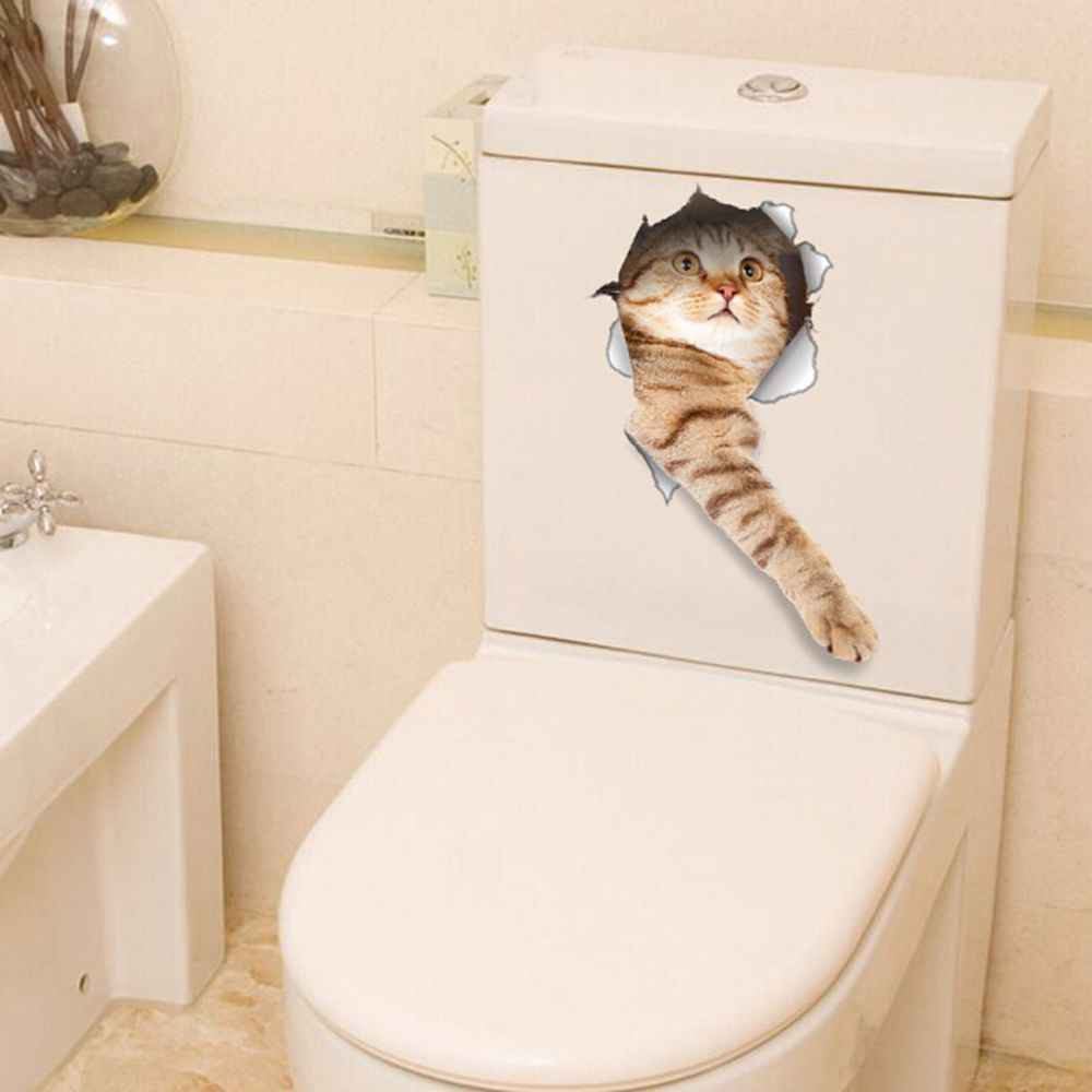 1PC 5 ประเภทร้อนขาย 3D แมวสุนัขวอลล์เปเปอร์ตกแต่งห้องน้ำสติกเกอร์ Vivid View Room ห้องน้ำสัตว์ Art โปสเตอร์ผนัง