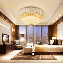 2017 Gold Round Crystal Ceiling Light For BedRoom Indoor Lamp with Remote Controlled luminaria home decoration Free Shipping