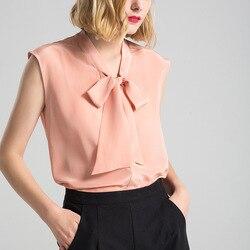100% натуральный шелк блузки женские чистый шелк блузки рубашки Твердые без рукавов Блузка женская рубашка 2019 лето женские блузы femininas