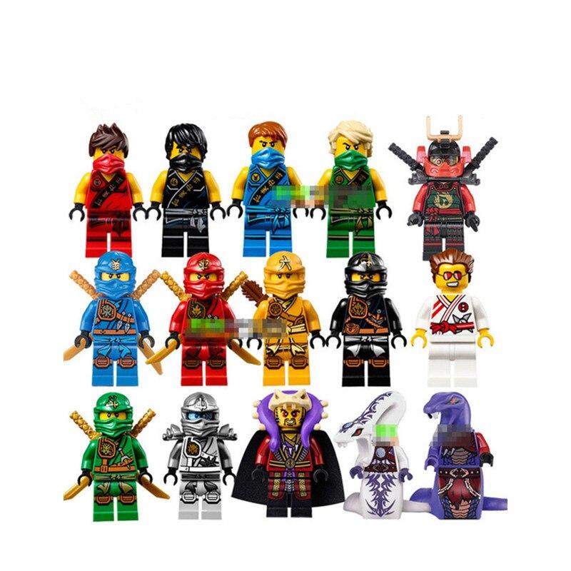 15 pièces/lot Compatible Legoinglys ninjagogiquement Cole Kai Jay Lloyd Nya Skylor Zane Pythor Chen blocs de construction Ninja jouets